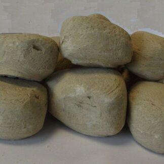 9pc Ceramic Fireplace Pebble Set Beige