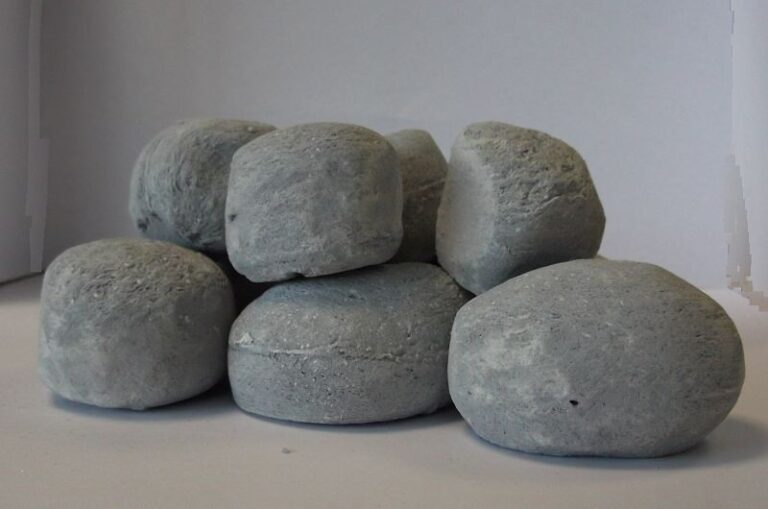 9pc Ceramic Fireplace Pebble Set Grey