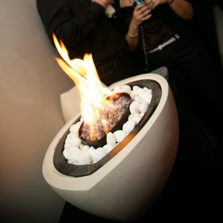 Bioethanol Fireplace Bowl in White with White Stones